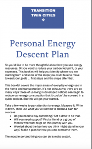 Personal Energy Action - Energy Descent Plan