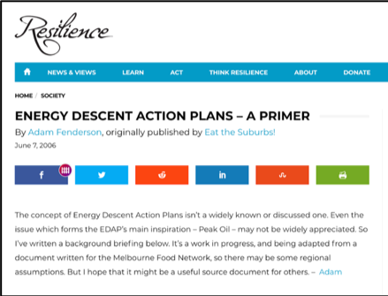 Resilience Website: Energy Action Plan